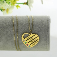 18k Gold Plated Mothers Birthstone Heart Necklace Engraved Names
