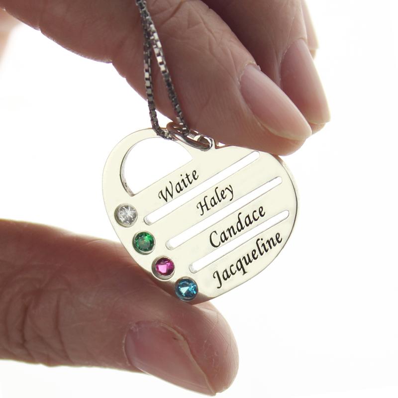 Fio com coração personalizado com 4 pedras zodiacais e nome para a mãe