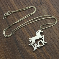 Customized Horse Pendant Necklace with Name for Childrens