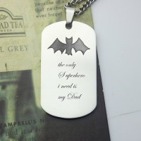 Titanium Steel Man's Dog Tag Bat Name Necklace