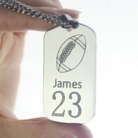 Titanium Steel Man's Dog Tag Rugby Name Necklace