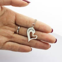 Charming Personalized Breakable Heart Name Necklace for Couples Silver