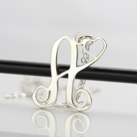 One Initial With Heart Monogram Necklace Solid White Gold