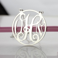 Circle Solid White Gold Initial Monogram Name Necklace