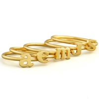 Custom Midi Initial Letter Ring 18k Gold Plated