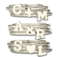 Unique Hers Stacking Rings with Heart & Initials
