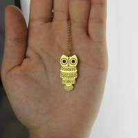 Cute Birthstone Owl Name Necklace 18k Gold Plated