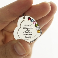 Incomparable and unbeatable Mother's Heart Necklace Engraved 6 Names and Birthstones