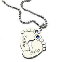 Collar con huella de pie de bebé con piedra de nacimiento y nombre grabado en plata