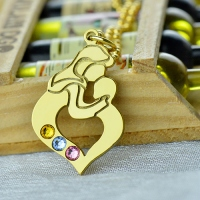 Personalized Mother Child Necklace with Birthstones Gold Plated