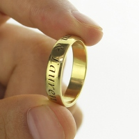 Engraved Promise Name Ring 18k Gold Plated