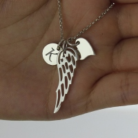 Girl's Angel Wing Necklace Gift With Heart & Initial Charm
