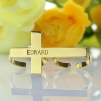 Engraved Name Two-Finger Cross Ring 18k Gold Plated