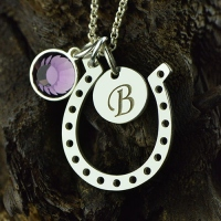 Horseshoe Good Luck Necklace with Initial & Birthstone Charm