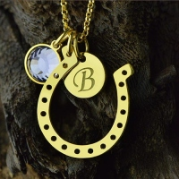 Distinctive Birthstone Horseshoe Lucky Necklace with Initial Charm 18k Gold Plate