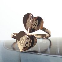 Monogram Ring Engraved Initials On Two Heart Rose Gold Silver