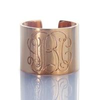 Stylish Engraved Monogram Cuff Ring Rose Gold