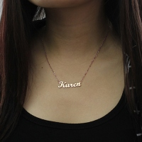 Solid Rose Gold Karen Style Name Necklace