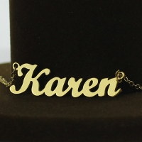 Gold Plated 925 Silver Karen Style Name Necklace