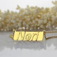 Raised Nori Letter Name Bar Necklace