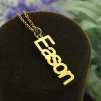 Vertical Name Necklace Gold
