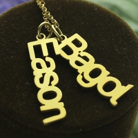 Family Vertical Names Necklace Gold