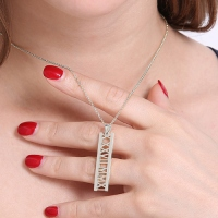 Roman Numerals Special Date Necklace Sterling Silver