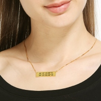 GPS Map Nautical Coordinates Necklace 18K Gold Plated