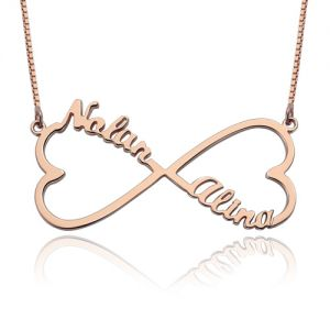 Personalized Heart Infinity 2 Names Necklace Rose Gold Plated