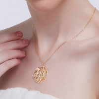 Gold Plated Circle Initial Monogram Necklace