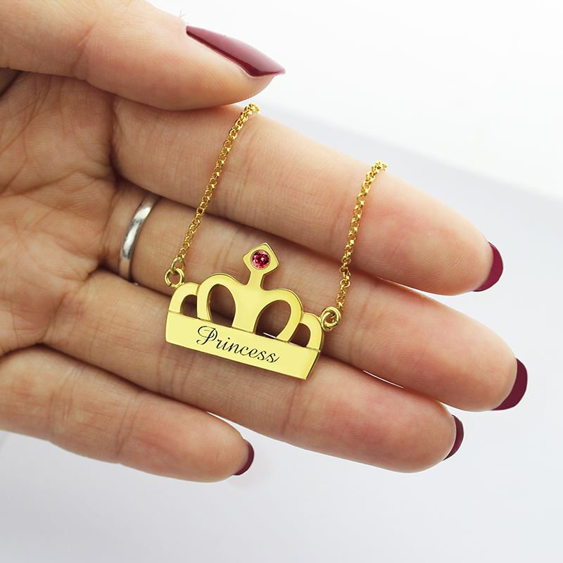 Princess Crown Charm Necklace With Birthstone Amp Name 18k Gold