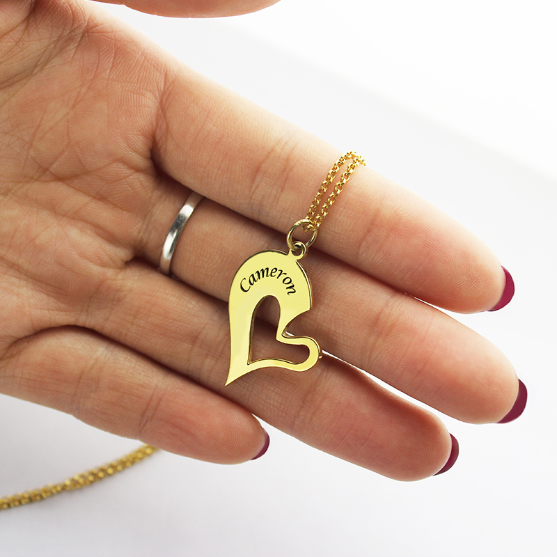 Double Name Heart Couple S Necklace Set 18k Gold Plated