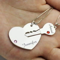 Key necklace silver necklace personalized initial necklace key charm cross key and love necklace custom couple necklace XL070