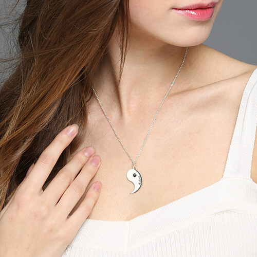 5ea0d31ed55ec Gifts for Him & Her: Yin Yang Necklace Set with Name & Birthstone