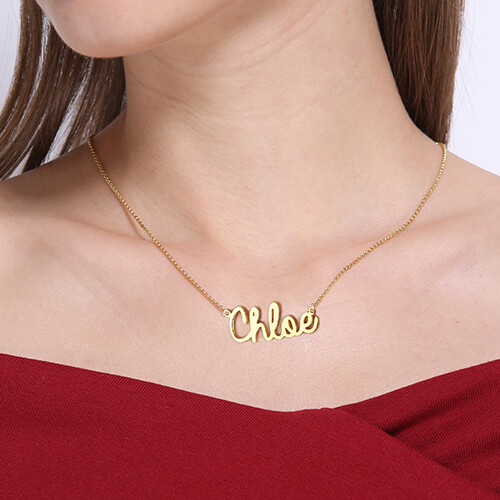 Personalized Cursive Style Name Necklace 18k Gold Plated