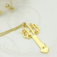 18K Gold Plated Key Monogram Initial Necklace