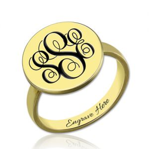 Engraved Disc Monogram Signet Ring Gold Plated Silver