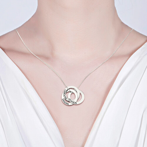 Sterling Silver Necklace Personalized Russian Interlocking Circles Necklace Gift for Mother