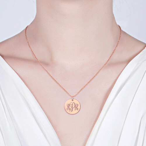 Disc Monogram Neckalce