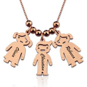 Engraved Kids Charm Necklace In Rose Gold
