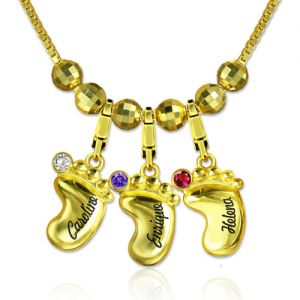 Engraved 3D Baby Feet Name Necklace with Birthstone Gold Plated