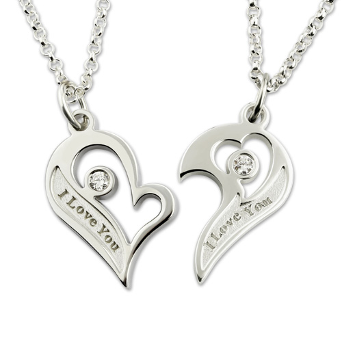 682bdfdff7 Engraved Birthstones Breakable Heart Necklace for Couples
