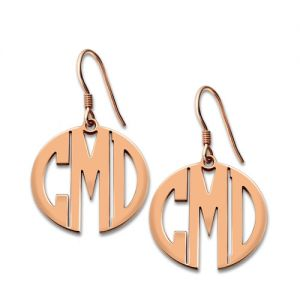 Personalized Block Monogram Earrings In Rose Gold