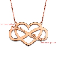Customized Infinity and Heart Name Necklace In Rose Gold
