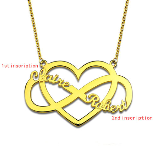 Customized Infinity and Heart Name Necklace Gold Plated