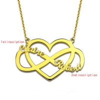 Infinity and Heart Couple Name Necklace 18K Gold Plated