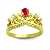 Romantic Birthstone Princess Crown Ring Gold Plated