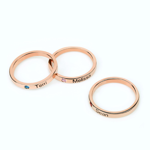 Mothers Stackable Name Ring With Birthstone In Rose Gold-9439