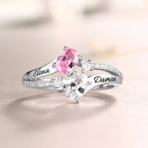 Engraved Double Oval Birthstones Ring In Silver