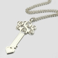 Sterling Silver Key Necklace with Fancy Monogram